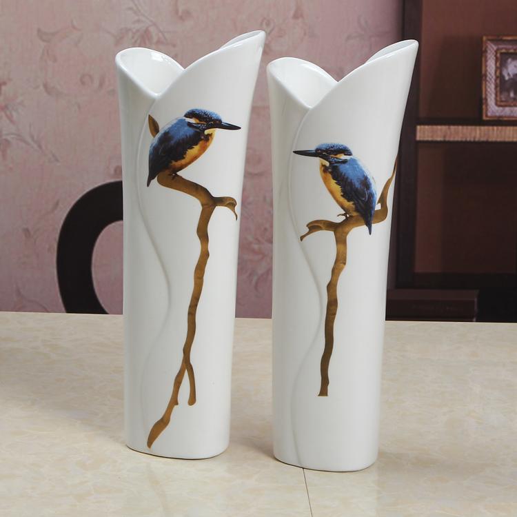 간단한 도자기 롤 모양의 꽃병 장식 도자기 kingfisher 연인 투수 그와 그녀의 장식품 선물 및 공예 액세서리-에서꽃병부터 홈 & 가든 의  그룹 1