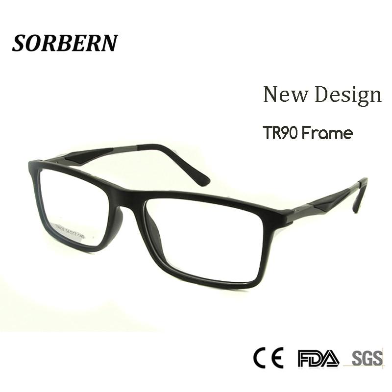 SORBERN 새로운 고품질 TR90 안경 프레임 남성 광장 얼간이 유리 처방 눈 렌즈 망 안경 프레임