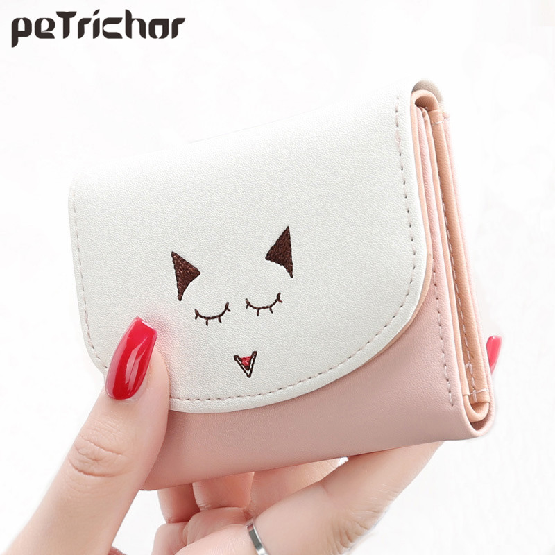 Short Wallet Women Luxury Brand Small Clutch Purse Cute Wallets Hasp Cartoon Money Purses PU Leather Coin Pocket Photo Holder nawo brand wallet women luxury brand genuine leather ladies purse for girls small card holder coin pocket money wallets short