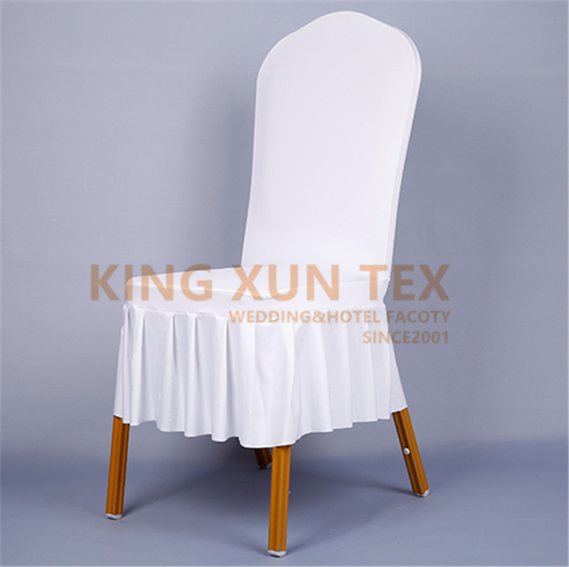 New Design Ruffled White Wedding Spandex Chair Cover