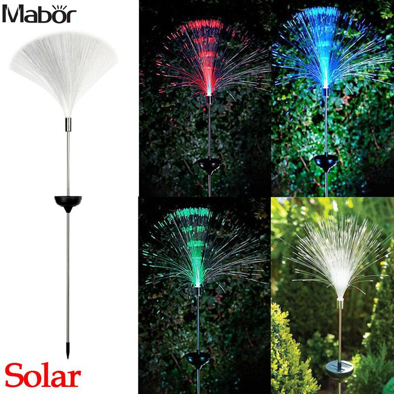 Mabor Solar Power Color Change Fiber Optic LED Light Lamp Garden Outdoor Yard Path