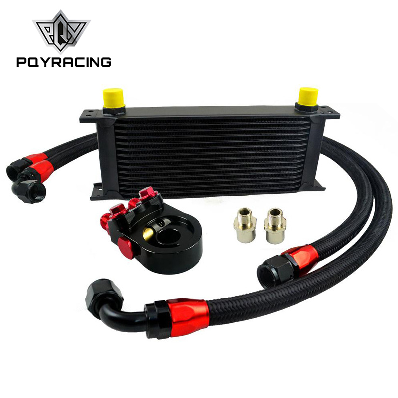 PQY RACING Universal 15ROWS OIL COOLER ENGINE KIT + AN10 oil Sandwich Plate Adapte with Thermostat +2PCS NYLON BRAIDED HOSE LINE