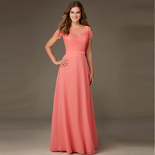 Fashionable Nectarean Short Sleeve with Sheer Lace Top Long Chiffon Coral Vestido De Noche Girl Party Bridesmaid Dresses