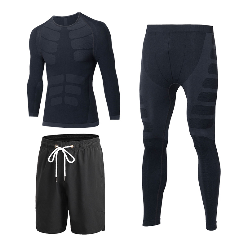 YD 3Piece Mens Compression Running Suit Clothes Sports Set Shirt Pant And Short Basket Football Trainning Tracksuits Men Gym