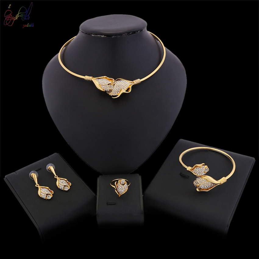 YULAILI African Beads Pure Gold Color Jewelry Set for Women Vintage Wedding Jewelry Bridal Choker Necklace Set pure color velvet six pieces thin choker necklace