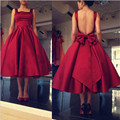 Elegant Burgundy-Red Stain Tea Length Prom Dresses Designer Backless Bow A-Line Short Homecoming Dresses Cheap Short Prom Gowns