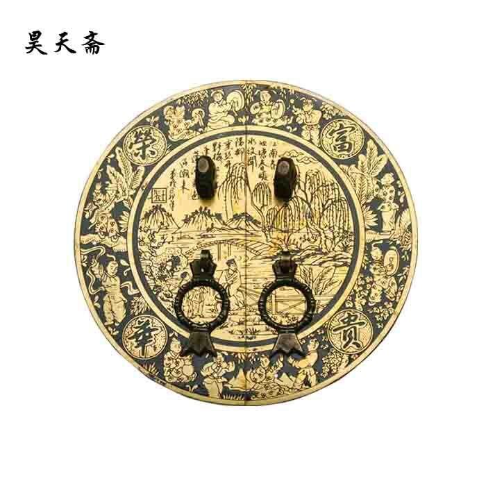[Haotian vegetarian] antique copper door handle Chinese handle door leaf splendor paragraph HTB 036