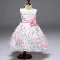 2017 Girls Summer Dresses For Wedding Birthday Party Gown Princess Flower Dress Baby Girl Kids Frock