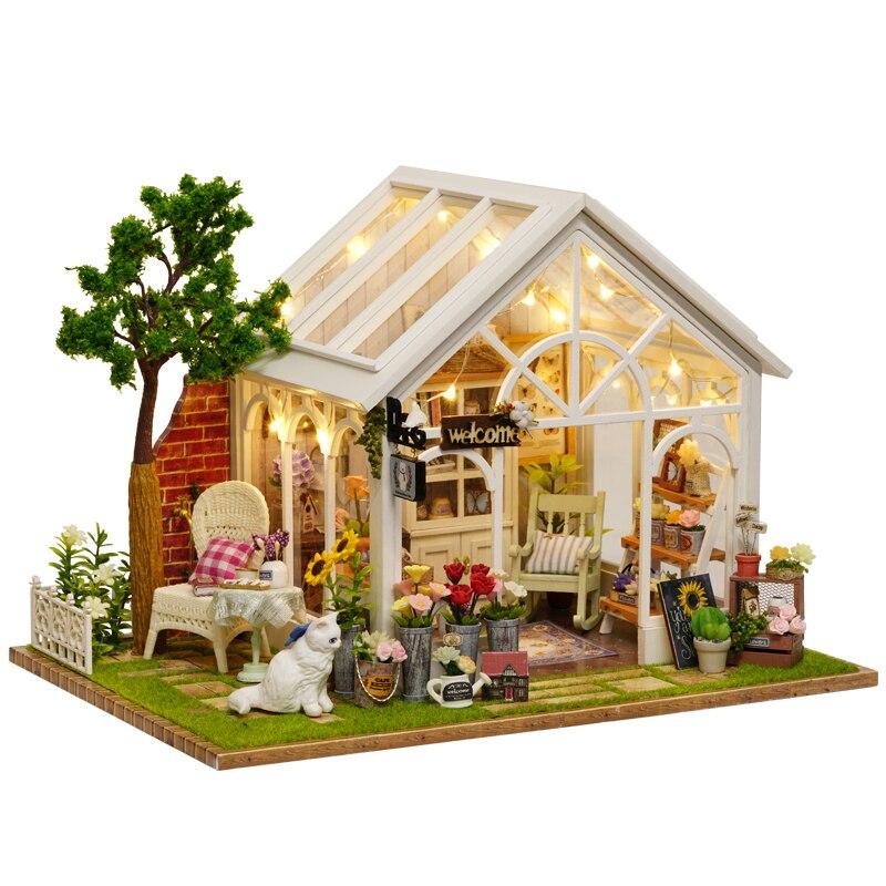 Mignon chambre bricolage maison de poupée Miniature maison de poupée avec meubles en bois jouets faits à la main cadeau pour enfants soleil serre A063 # E