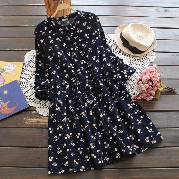 Spring Autumn Lolita Dress Sweet Floral Print Basic Vestido Mori Girl Plus Size Casual Clothes Female Long Sleeve Corduroy Dress