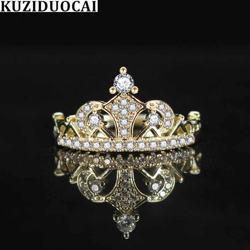 Kuziduocai New Fashion Jewelry Dense Zircon Stainless Steel Crown Gold Color Wedding Bride Party Rings For Women Anillos R-737