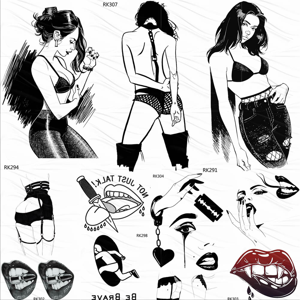 OMMGO Sexy Naked Girl Hot Temporary Tattoos Women Sticker Black Drawing Fake Tattoo Custom Tatoos Lips Body Art Arm Minimalist