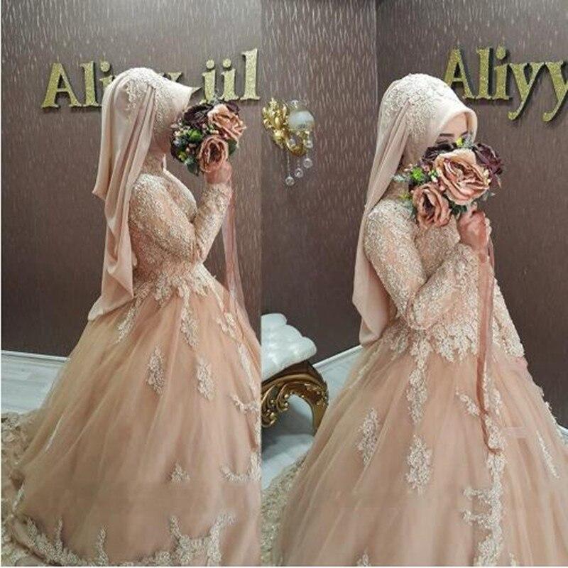 Wedding Dress 2017 Bridal font b Hijab b font Muslim Lace Long Sleeve Champagne Gowns Islamic