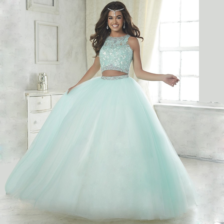 elegant baby blue two piece quinceanera