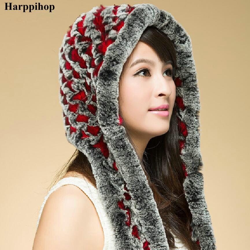 Winter women's rex rabbit hair knitted cap knitted ear hat scarf fur hat winter rex rabbit hair fur hat perimeter cap winter hat millinery winter rabbit fur cap
