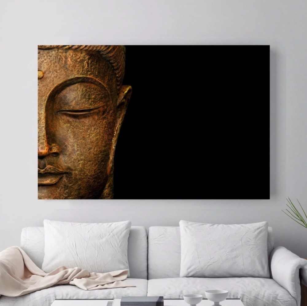 Schwarz Hintergrund Buddha Gesicht Halb Porträt Buddha Malerei Drucke auf Leinwand für Wohnzimmer Wand Kunst Decor Drop Shipping