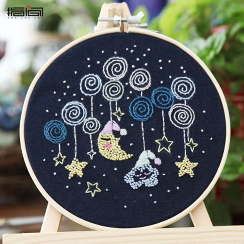 Starry Sky DIY Cross Stitch Material Package Embroidery Cute Cartoon Animal DIY Embroidered Accessories Kit Craft With Frame 6