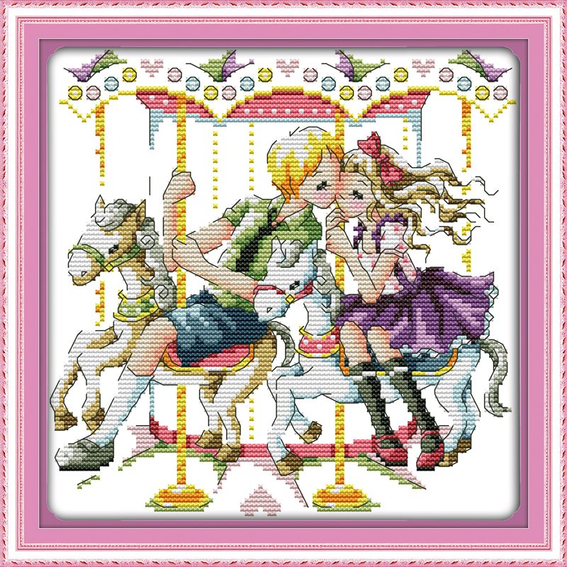 The love with the carousel , counted printed on fabric DMC 14CT 11CT Cross Stitch kits,embroidery needlework Sets, Home Decor