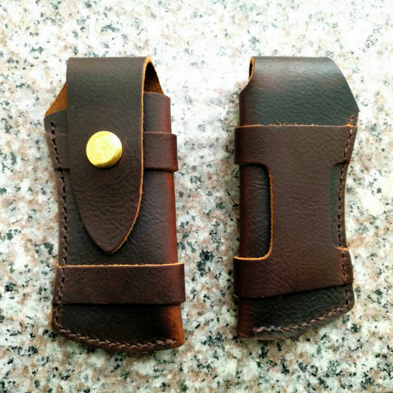 First Layer Leather Knife Cover Scabbard Browning Triple Blade Fold Outdoor EDC High Quality Tool Pliers Clamp Case Pouch