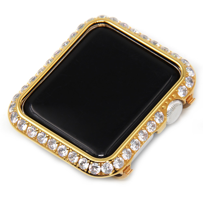 Platinum case with large diamond bezel cover for Apple Watch cover 38mm 42mm gold-plated cases with luxury crystal