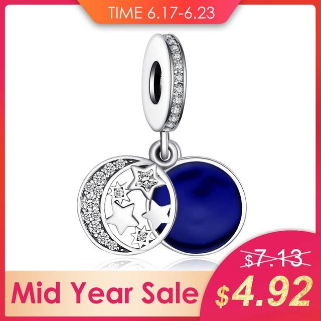 JewelryPalace Genuine 925 Sterling Silver Secret Blue Love Charms Beads Fit Bracelet Bangle Moon Star Dangle Pendant Anniversary
