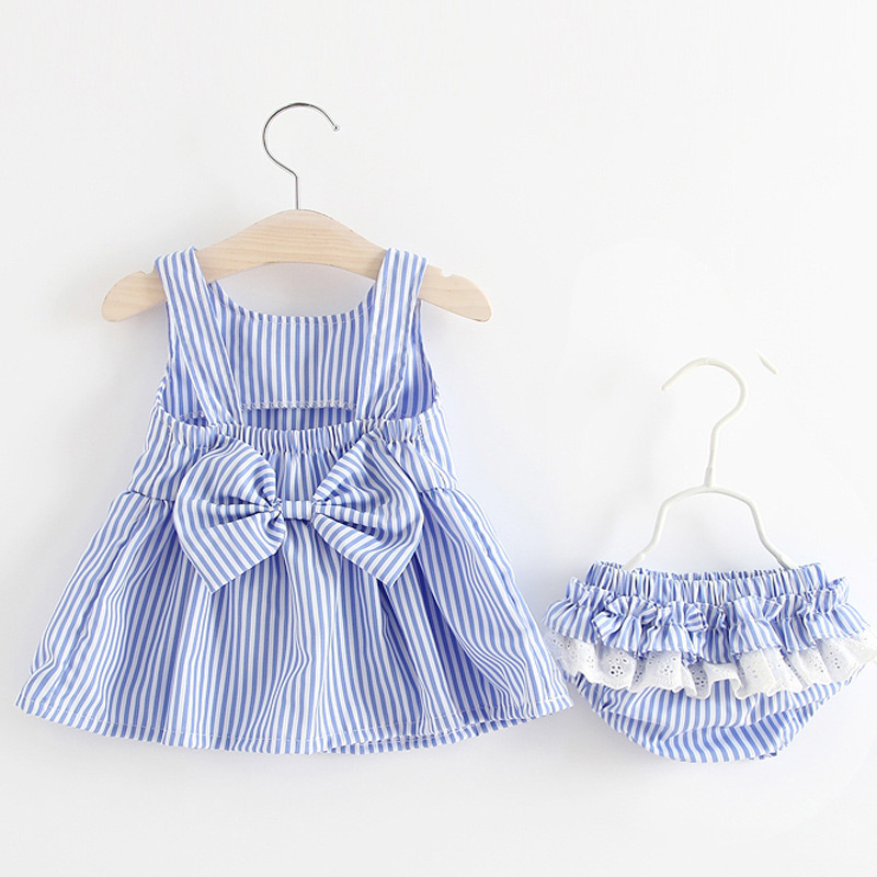 Summer Baby Clothes 2 Pieces Dress Set Bow Striped Sleeveless Girl Dresses with Panty Outfits YH-17