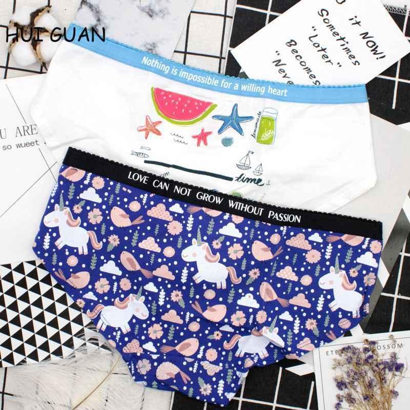 39dc0e578baf HUI GUAN Kawaii Young Girl Student Panties Sex Thong Cartoon Unicorn Cute  Underwear Lingerie Women Cotton