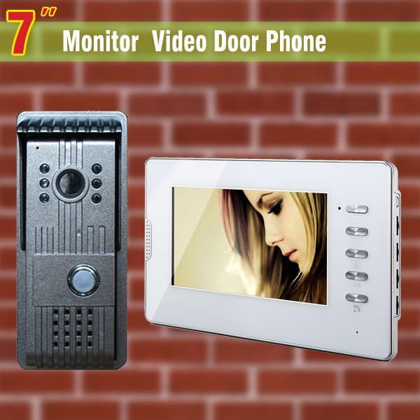 7 Inch Lcd  Video Door Phone Doorbell Intercom System 1Camera 1 Monitor Night Vision Video DoorBell Video  IntercomDoorphone