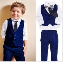European and American wholesale spring/autumn gentleman vest+long-sleeved+long trousers+tie four pieces set suit for boys