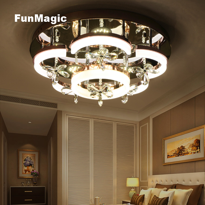 24 Inch Modern Romantic Crystal Flower LED Ceiling Light Living Room Bedroom Ceiling Fixture Lamp Dining Room Lighting Dimming