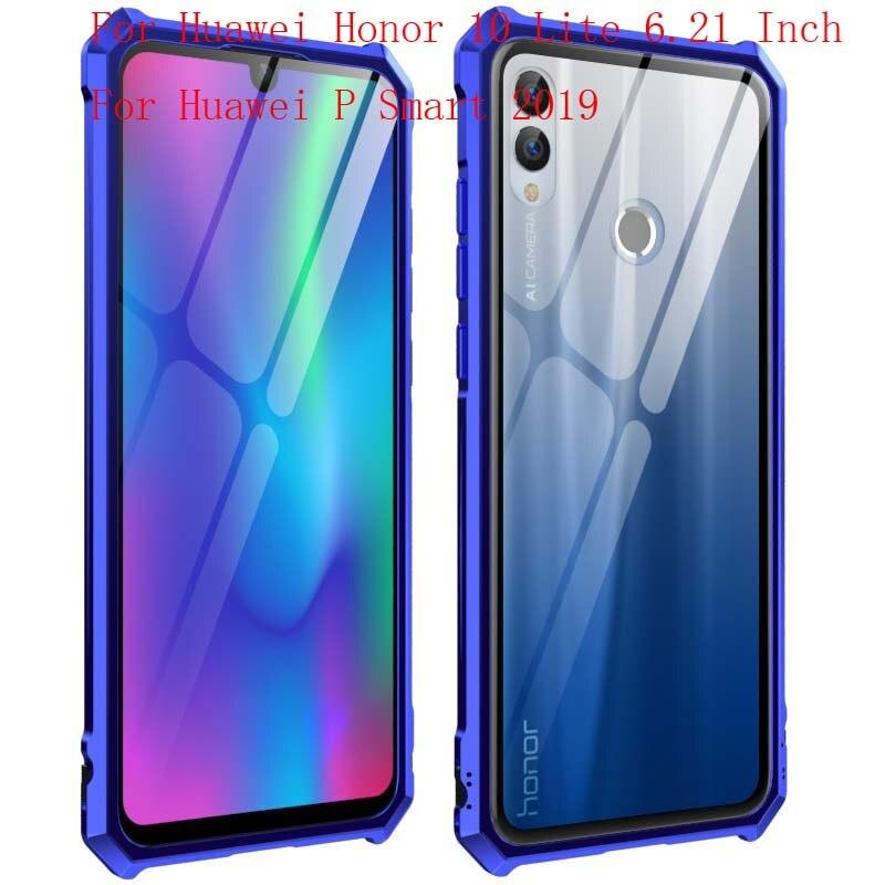 Caso Armadura de Metal de Alumínio Moldura de Vidro Transparente Tampa Do Telefone de luxo 6.21 Polegada Para Huawei Honor 10 Lite P Inteligente 2019 caso JS0828