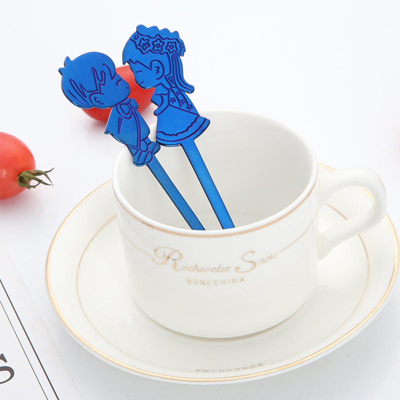 OBR 2PCS Stainless Steel Couple Coffee Spoon Lovely Child Shape Colorful Cartoon Ice Cream Tea Dessert Soup Stirring Spoons in Coffee Scoops from Home Garden