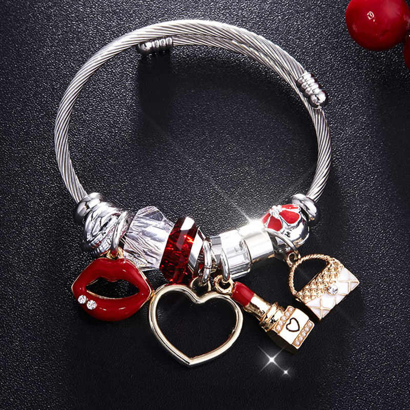 Charm Women Bracelet Silver Color Chain Red Lips Big Heart Crystal Bead Female Cuff Bracelets & Bangles Jewelry Valentine's Gift
