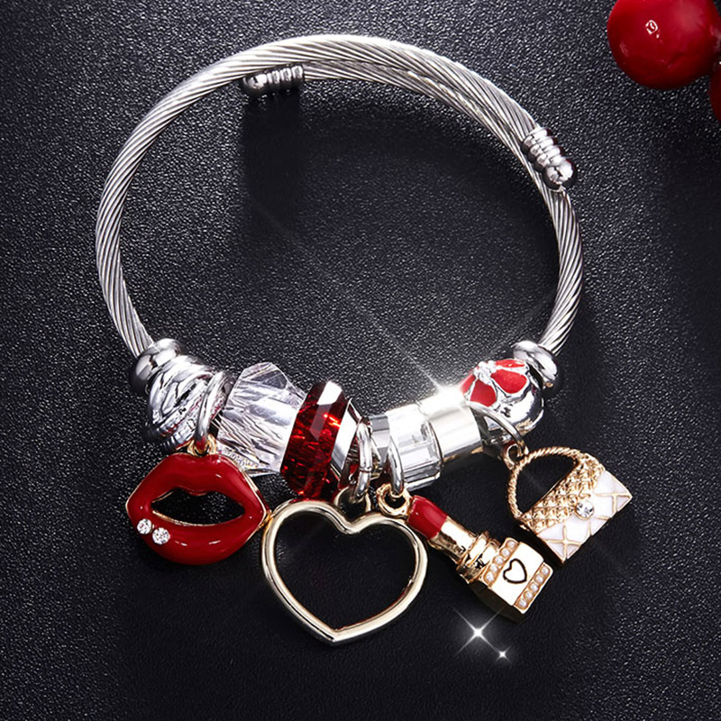 RAVIMOUR Charms Women Bracelet Silver Color Chain Red Lips Big Heart Crystal Bead Female Cuff Bracelets & Bangles Jewelry Gift poshfeel silver plated anchor bracelet for women blue crystal charms bracelets diy bead jewelry pulseira mbr170132