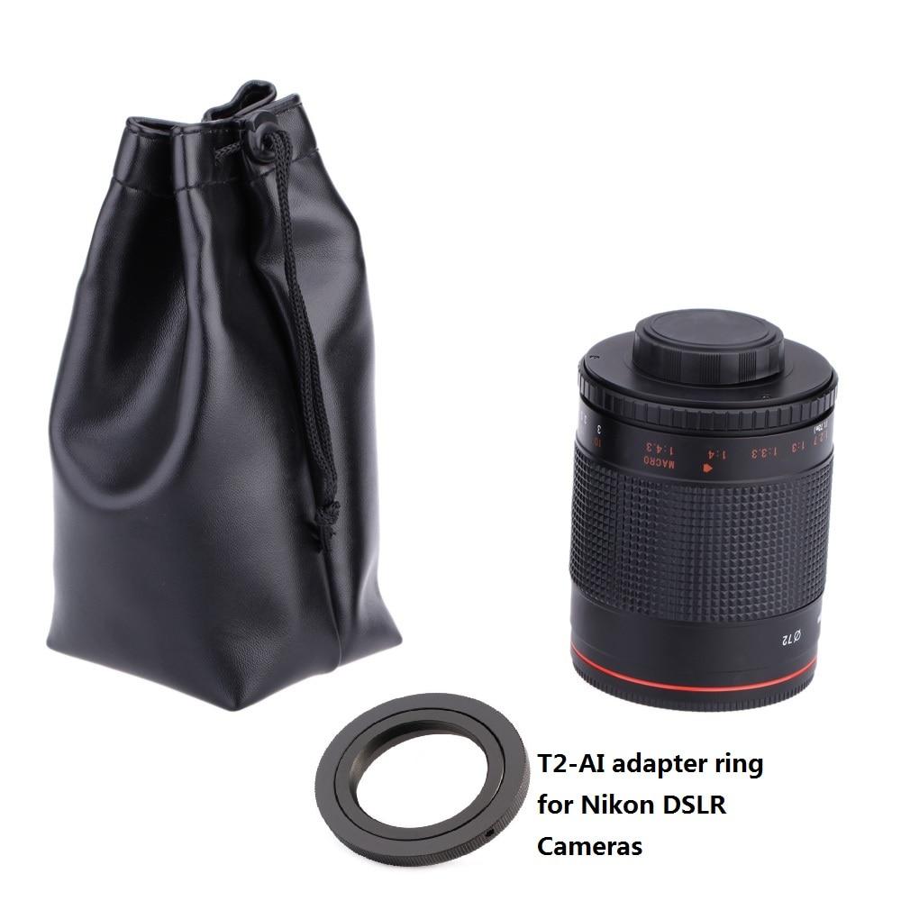 Nikon D3000 D3100 D7000 D80 D90 D7100 D5100 DSLR Kamera üçün T2-AI Adapter halqası ilə əl ilə 500mm F / 8.0 Telefoto Güzgü Lensləri
