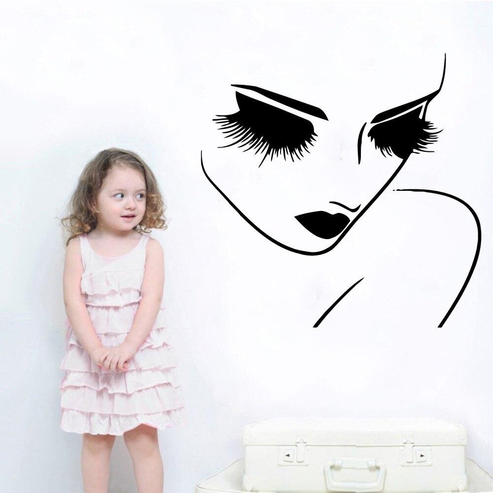 Vinylová kosmetika žena Kadeřnictví Vlasová umění WallDecals Salon Hezká tvář Closeup Oči Dlouhé řasy Pokojová výzdoba Nástěnná malbaY-904