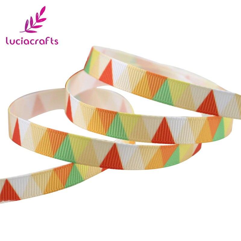 Lucia crafts 5y/6y 10 мм мульти вариант геометрический узор корсажная лента упаковочная лента DIY бант для волос и Швейные аксессуары S0609 - Цвет: Yellow 5y
