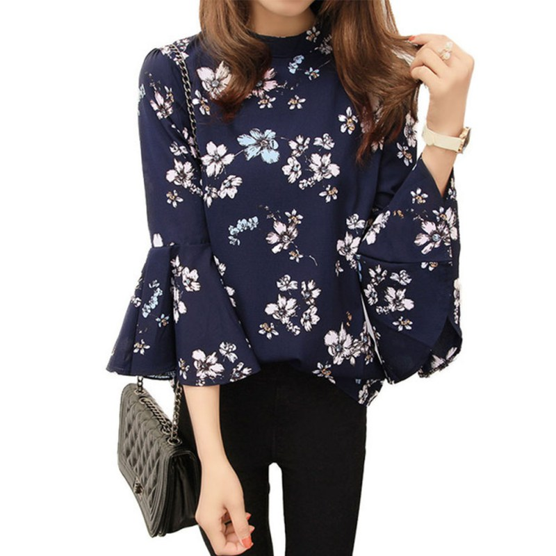 Autumn Women Floral Chiffon Blouse Flare Sleeve Shirts Ladies Office Fashion Tops  LWE56 Блузка