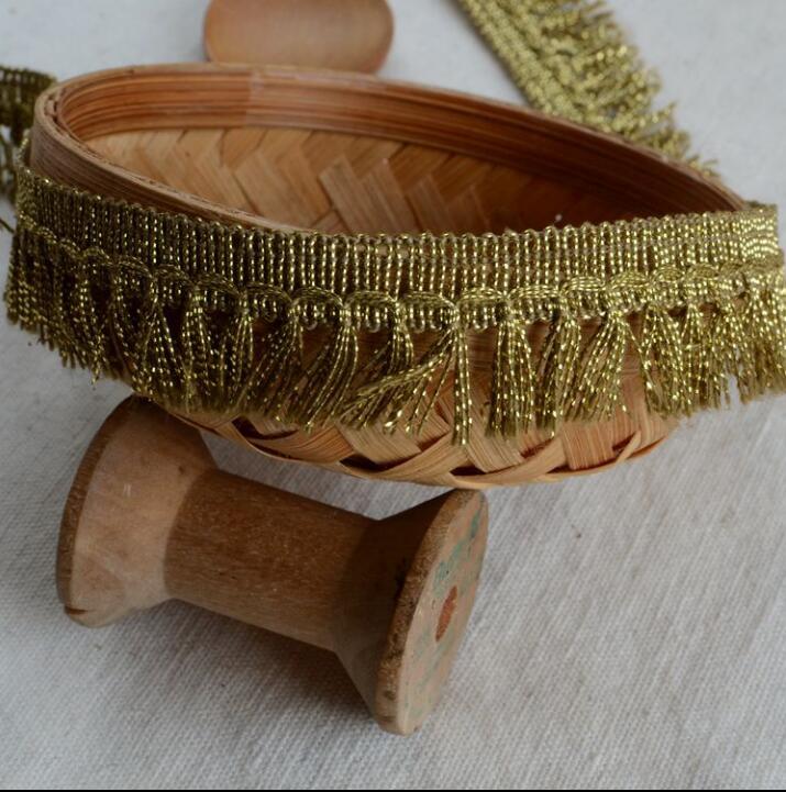 3 Meters Vintage Gold Tassel Lace Ribbon Dangling Fringe Lace Trims For DIY Sewing Craft 2.3cm Width