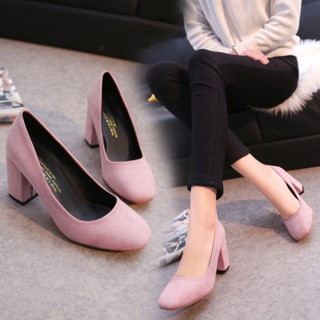 2017 square toe high-heeled shoes bridesmaid nude color velvet shallow mouth high heel spring autumn pumps shoes 7.5 cm
