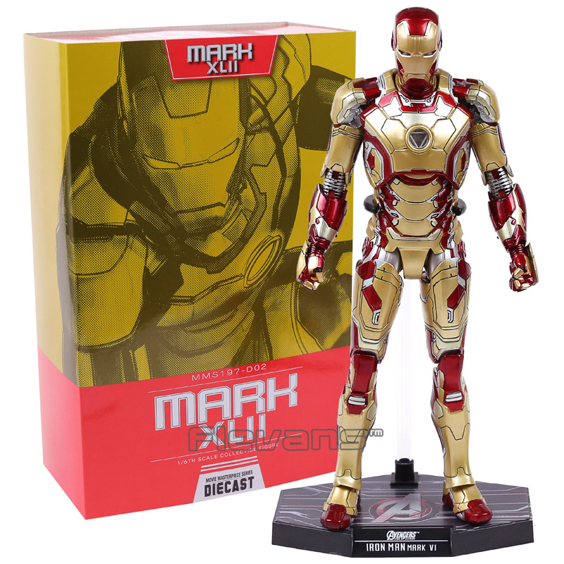 Hot Toys Marvel Iron Man Mark XLII MK 42 with LED Light 1/6 Scale PVC Figure Collectible Model Toy-in Action & Toy Figures from Toys & Hobbies