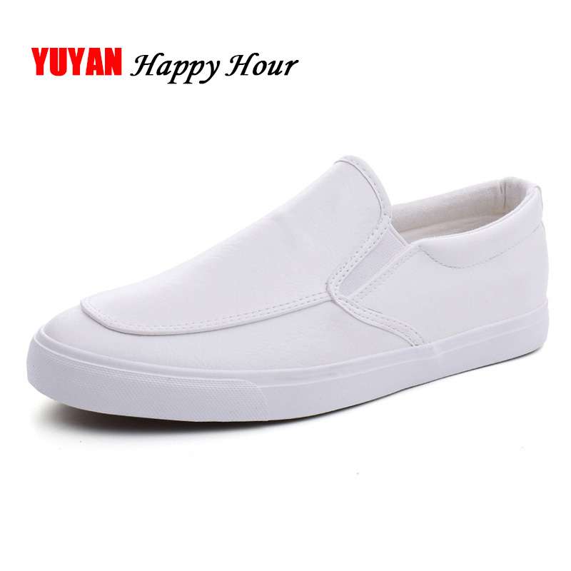 Men Loafers Soft Leather Men Shoes 2019 Slip-on Flat Fashion Loafers Casual Male Black White Shoes A1187