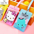 13 kinds Silicone Card Case Holder Portable Cute Cartoon String Hello Kitty Metro ID Bus Identity Badge With Lanyard Porte