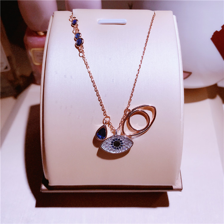 Famous Brand Design Double Blue Evil Eyes Necklace For Women rose Gold Color Cubic Zirconia Charm pendant Feminino Bijuterias