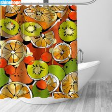 150x180CM Nordic Pictures Polyester Waterproof Fruit Pattern Shower Curtains High Quality Bath Curtain In The Bathroom(China)