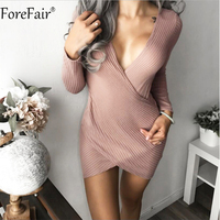 ForeFair Sexy Cross Style Deep V Neck Club Party Dress Autumn Black Gray Pink Long Sleeve