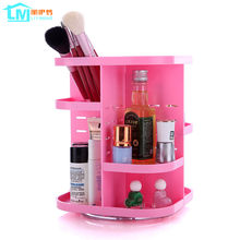 LIYIMENG Plastic Makeup Cosmetic Organizer 360 Degree Rotation Cosmetic Storage Box Makeup Organizer Lipstick Holder Storage(China)
