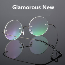 f6bf46ea28 Steve Jobs Star Style Ultra-light Memory Titanium Wired Rimless Round  Glasses Frame