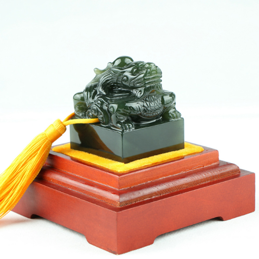 Top Grade Chinese Seal Stamp Imperial jade seal Decoration Engraved logo Art Seal for calligraphy and painting Dragon pattern