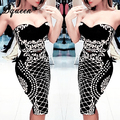 Bqueen 2017 flor vintage imprimir patrón blusa entallada 2 unidades conjuntos trajes sin tirantes del vendaje de las mujeres vestido de otoño hasta la rodilla longitud